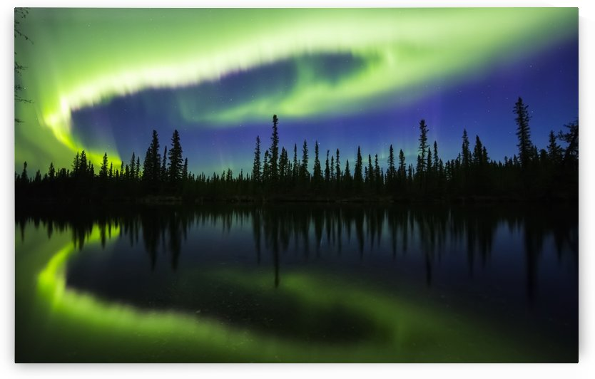 The aurora borealis reflects in the Clearwater River in Delta Junction; Alaska, United States of America by PacificStock