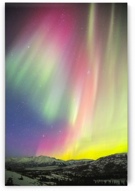A colourful aurora display over Granite Mountain, south of Delta Junction; Alaska, United States of America by PacificStock
