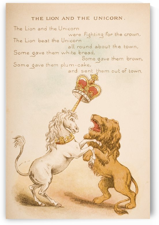 The Lion and the Unicorn from Old Mother Goose's Rhymes and Tales  Illustration by Constance Haslewood  Published by Frederick Warne & Co London and New York circa 1890s  Chromolithography by Emrik & Binger of Holland by PacificStock
