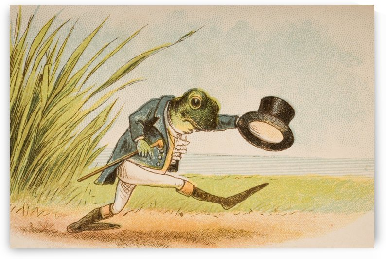 The Frog Who Would A Wooing Go from Old Mother Goose's Rhymes and Tales  Illustration by Constance Haslewood  Published by Frederick Warne & Co London and New York circa 1890s  Chromolithography by Emrik & Binger of Holland by PacificStock