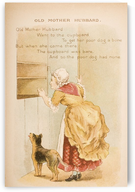 Old Mother Hubbard from Old Mother Goose's Rhymes and Tales  Illustration by Constance Haslewood  Published by Frederick Warne & Co London and New York circa 1890s  Chromolithography by Emrik & Binger of Holland by PacificStock