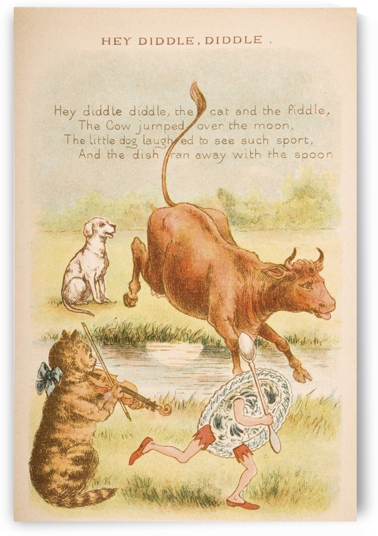 Hey Diddle Diddle from Old Mother Goose's Rhymes and Tales. Illustrated by Constance Haslewood. Published by Frederick Warne & Co London and New York circa 1890s. Chromolithography by Emrik & Binger of Holland by PacificStock