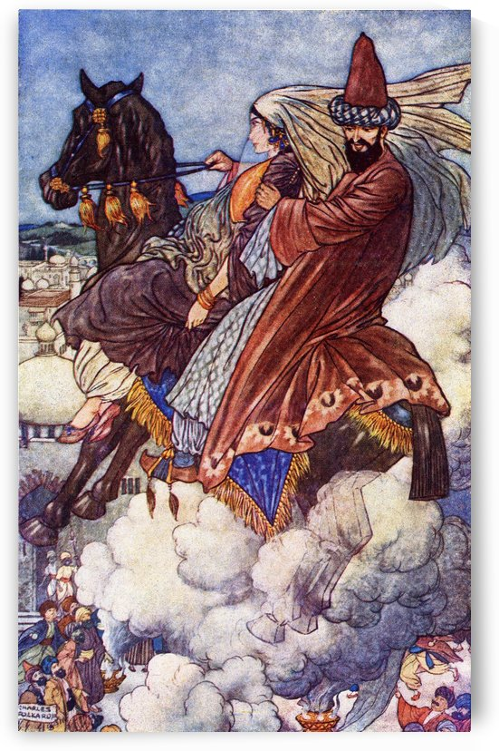 The Story of the Enchanted Horse. Illustration by Charles Folkard from the book The Arabian Nights published 1917 by PacificStock