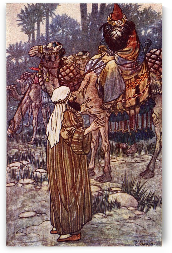 The Story of Baba Abdallah. Frontispiece illustration by Charles Folkard from the book The Arabian Nights published 1917 by PacificStock