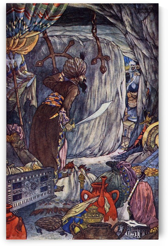 The History of Ali Baba and the Forty Thieves. Illustration by Charles Folkard from the book The Arabian Nights published 1917 by PacificStock