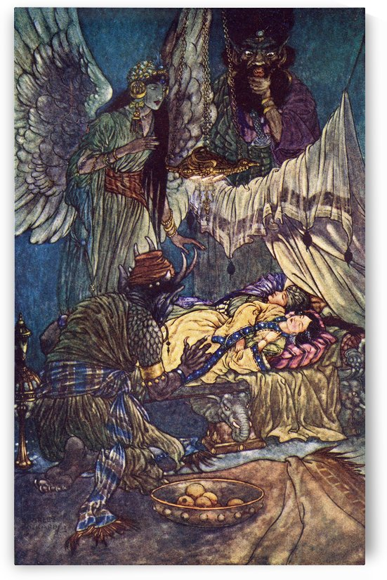 Camaralzaman and Badoura. Illustration by Charles Folkard from the book The Arabian Nights published 1917 by PacificStock