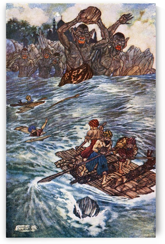 The Third Voyage of Sinbad the Sailor. Illustration by Charles Folkard from the book The Arabian Nights published 1917 by PacificStock