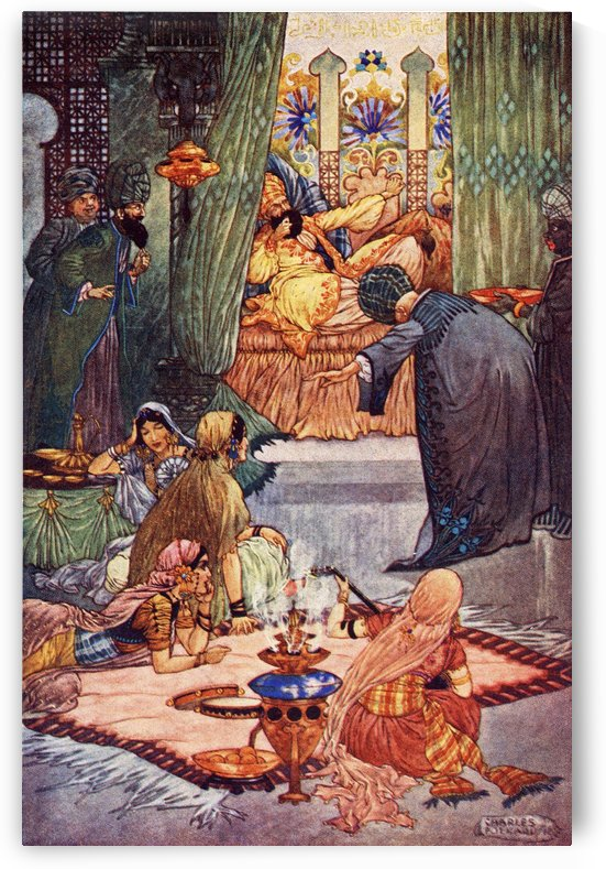 Abou Hassan or The Sleeper Awakened. Illustration by Charles Folkard from the book The Arabian Nights published 1917 by PacificStock