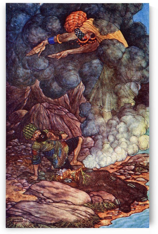 The History of the Fisherman. Illustration by Charles Folkard from the book The Arabian Nights published 1917 by PacificStock