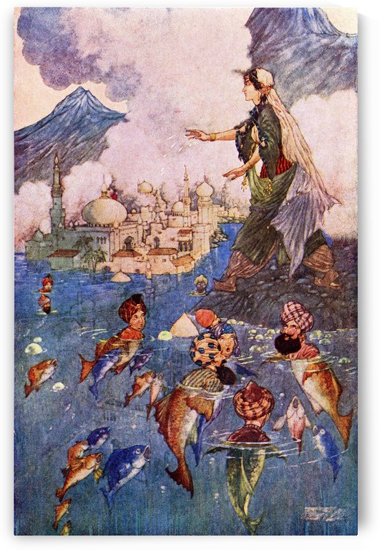 The History of the Young King of the Black Isles. Illustration by Charles Folkard from the book The Arabian Nights published 1917 by PacificStock