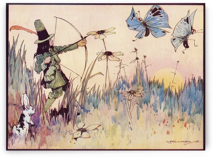 Big Game Hunting in Fairyland. From the illustration by H Folkard from the book Princess Marie-José's Children's Book published 1916. by PacificStock