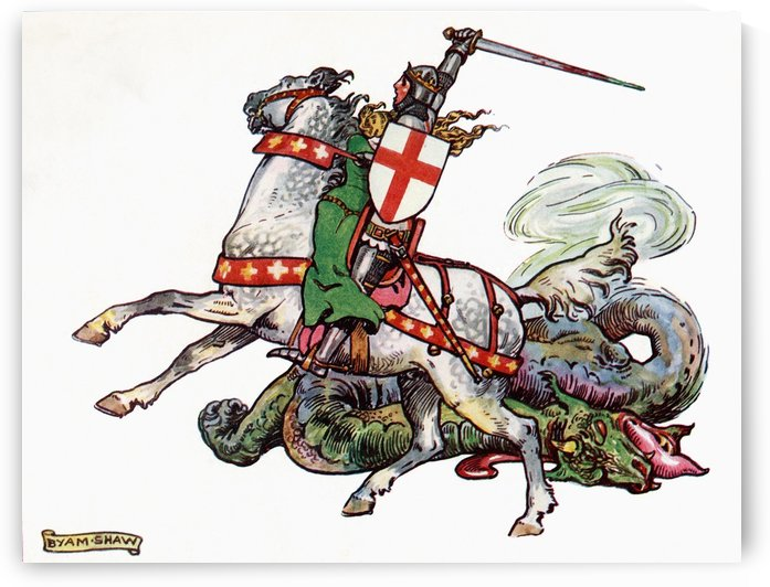 St.George and the Dragon. Illustration from the book Princess Marie-José's Children's Book published 1916. by PacificStock