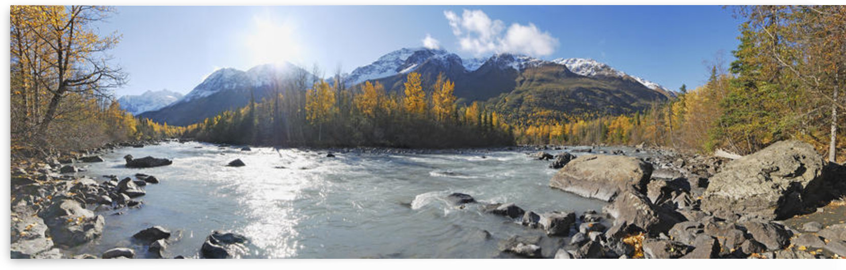 Panorama View Of Rapids Camp Along Eagle River In Chugach State Park, Southcentral Alaska by PacificStock