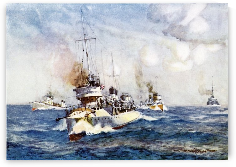 French Destroyers. Colour illustration from the book France by Gordon Home published 1918 by PacificStock