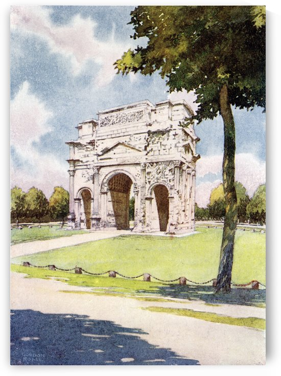 The Triumphal Arch, Orange, Vaucluse, France. Colour illustration from the book France by Gordon Home published 1918 by PacificStock