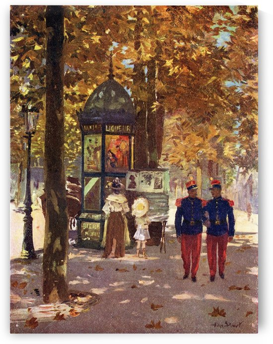 French Soldiers in Paris, France. Colour illustration from the book France by Gordon Home published 1918 by PacificStock