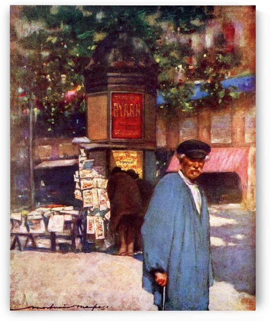The Kiosk on the Boulevard, Paris. Colour illustration from the book France by Gordon Home published 1918 by PacificStock