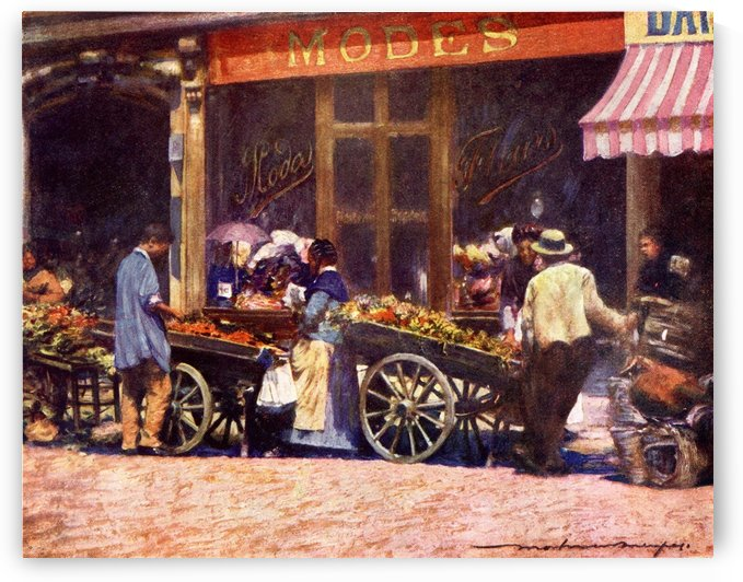 French Market Barrows. Colour illustration from the book France by Gordon Home published 1918 by PacificStock