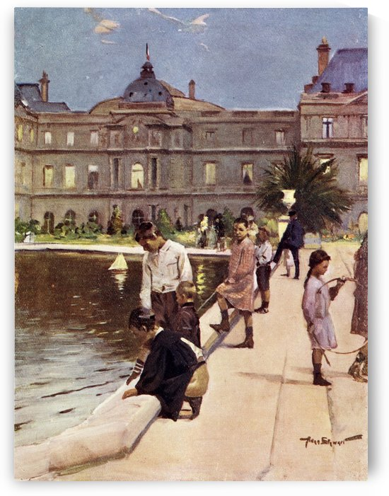 Children of Paris in The Luxemburg Gardens, Paris, France. Colour illustration from the book France by Gordon Home published 1918 by PacificStock