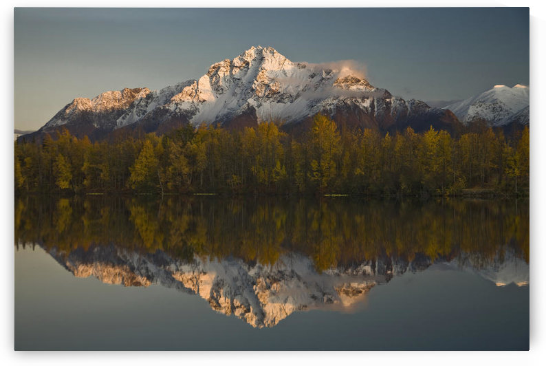 Scenic View Of Pioneer Peak Reflecting In Echo Lake At Sunset, Southcentral, Alaska by PacificStock