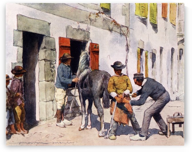 Breton Peasant Outside a Smithy. Colour illustration from the book France by Gordon Home published 1918 by PacificStock