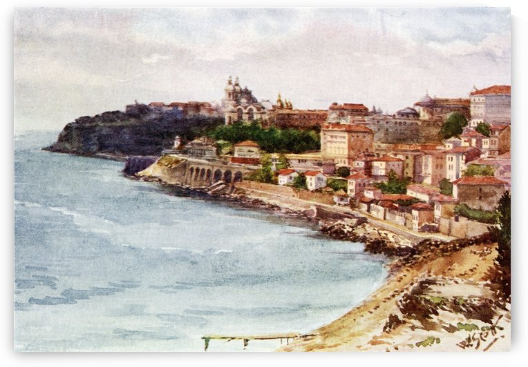 Monte Carlo and Monaco from the East. Colour illustration from the book France by Gordon Home published 1918 by PacificStock