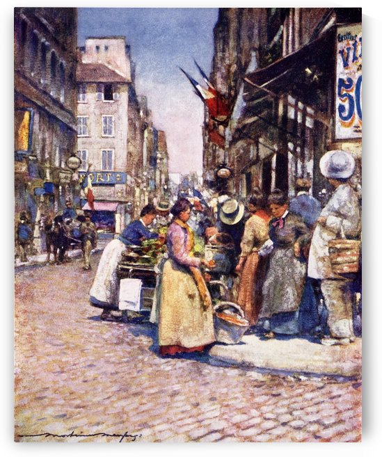 A Corner at the Rue de Seine, Paris, France. Colour illustration from the book France by Gordon Home published 1918 by PacificStock