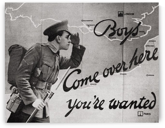 Wartime Recruitment Poster. From the magazine Twenty Years After The Battlefields of 1914-1918 Then and Now by Sir Ernest Swinton published 1938. by PacificStock