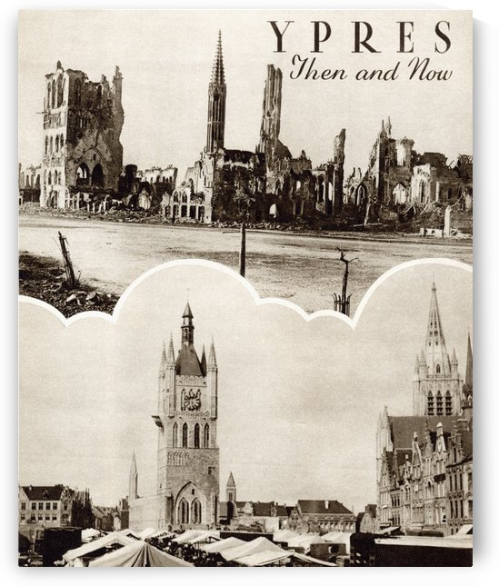 Ypres, West Flanders Then and Now. From the magazine Twenty Years After The Battlefields of 1914-1918 Then and Now by Sir Ernest Swinton published 1938. by PacificStock