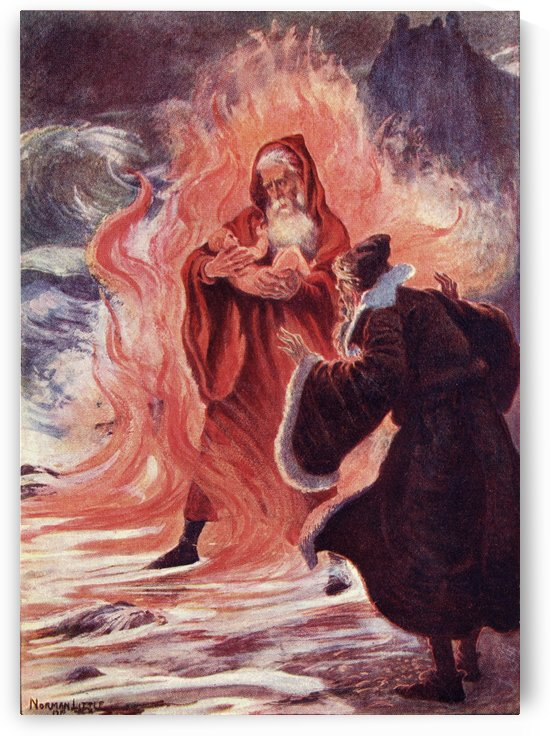 And down the wave and in the flame was borne a naked babe, and rode to Merlin's feet.  Title of coloured illustration from the book The Gateway to Tennyson published 1910. by PacificStock