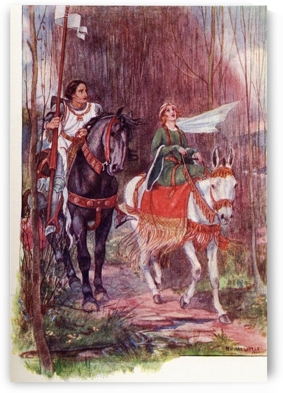 Sir Lancelot and Queen Guinevere.  Coloured illustration from the book The Gateway to Tennyson published 1910. by PacificStock