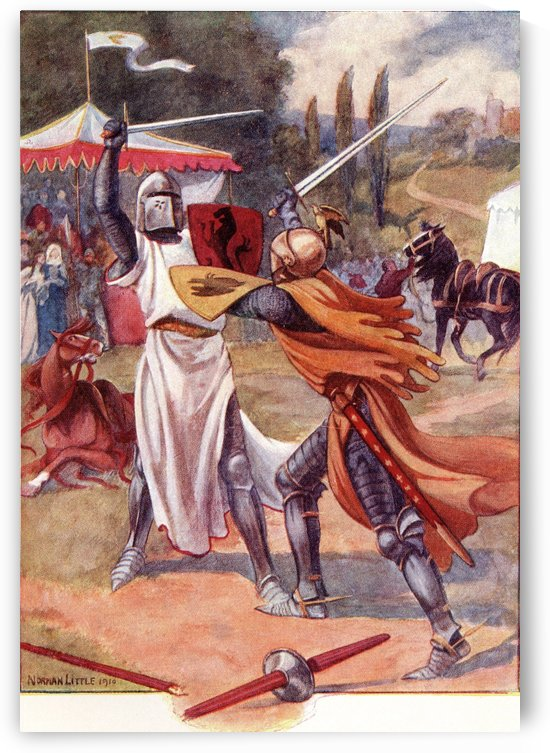 Fighting Knights in Armour.  Coloured illustration from the book The Gateway to Tennyson published 1910. by PacificStock