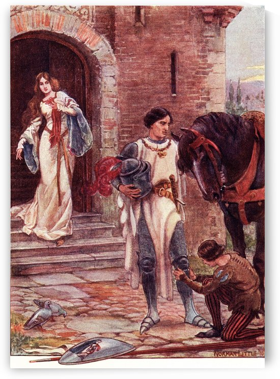 Lancelot and Elaine.  Coloured illustration from the book The Gateway to Tennyson published 1910. by PacificStock