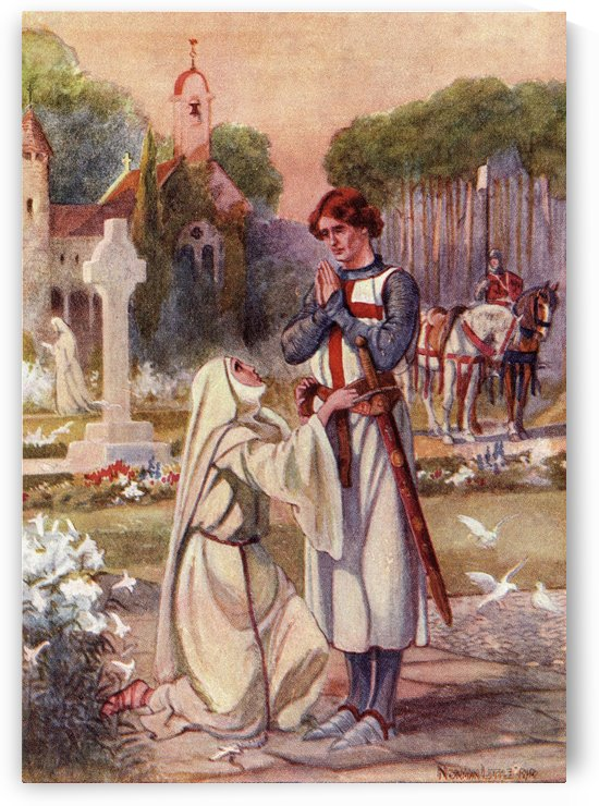 A nun binds the waist of Sir Galahad with a belt made of her hair and a device representing The Holy Grail in crimson and silver thread.  Coloured illustration from The Story of Sir Galahad from book The Gateway to Tennyson published 1910. by PacificStock