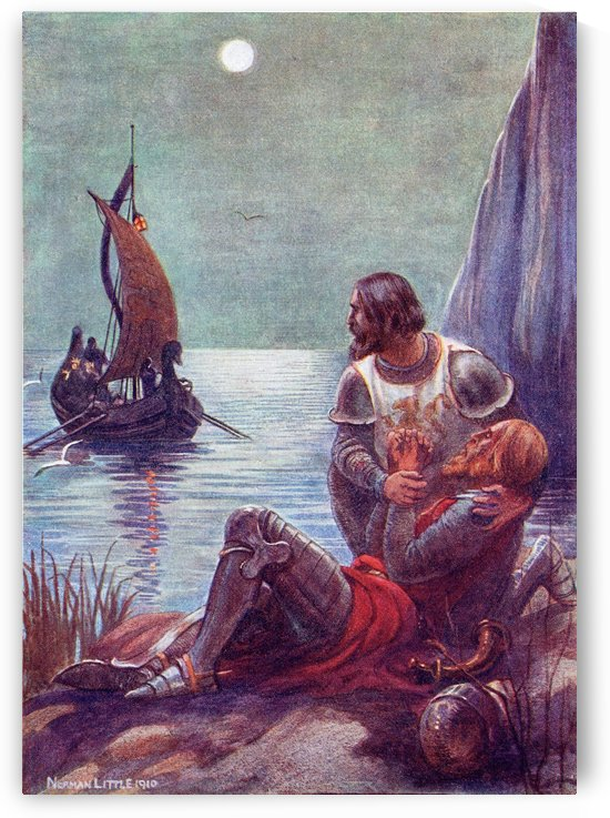 The Death of King Arthur.  Coloured illustration from the book The Gateway to Tennyson published 1910. by PacificStock