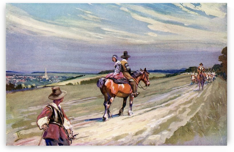 King Charles II, riding towards Wilton in disguise after the Battle of Worcester, passes Roundheads on the Icknield Road, near Wilton.   From The Illustrated London News, Christmas Number, 1933. by PacificStock