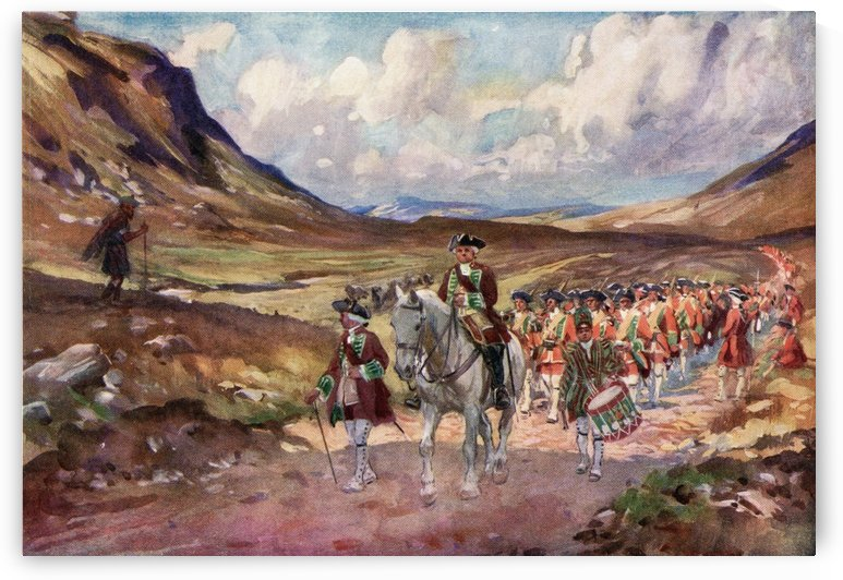 Redcoats, on the march along Wade's Road in the Highlands, cursed by a Highlander as they pass by.  From The Illustrated London News, Christmas Number, 1933. by PacificStock