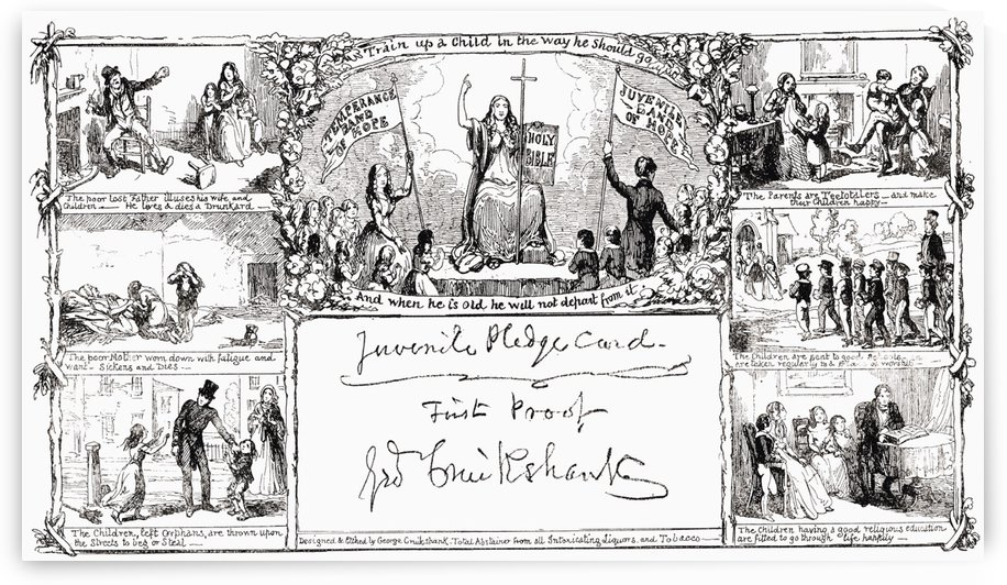 Juvenile Pledge Card.  Facsimilie of first proof by George Cruikshank.  From the book The Connoisseur Illustrated published 1903. by PacificStock
