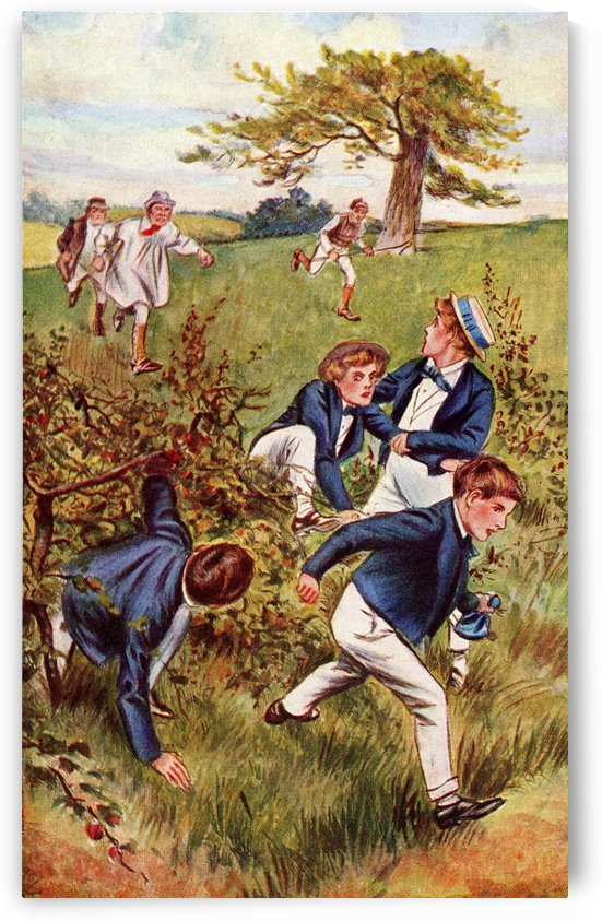 The farmer and his men are making good running about a field behind.  Illustration to the book Tom Brown's School Days published 1921 by PacificStock