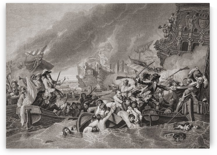 Battle of La Hougue or La Hogue between Anglo Dutch and French naval forces 1692.  From English and Scottish History, published 1882. by PacificStock
