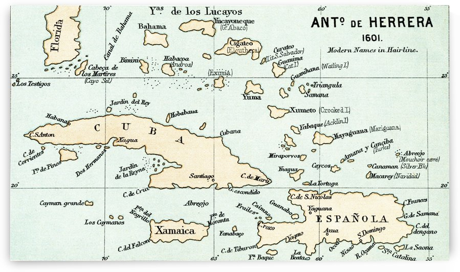 Antonio de Herrera y Tordesillas map of the Bahamas, 1601.  From the book Life of Christopher Columbus by Clements R. Markham published 1892. by PacificStock
