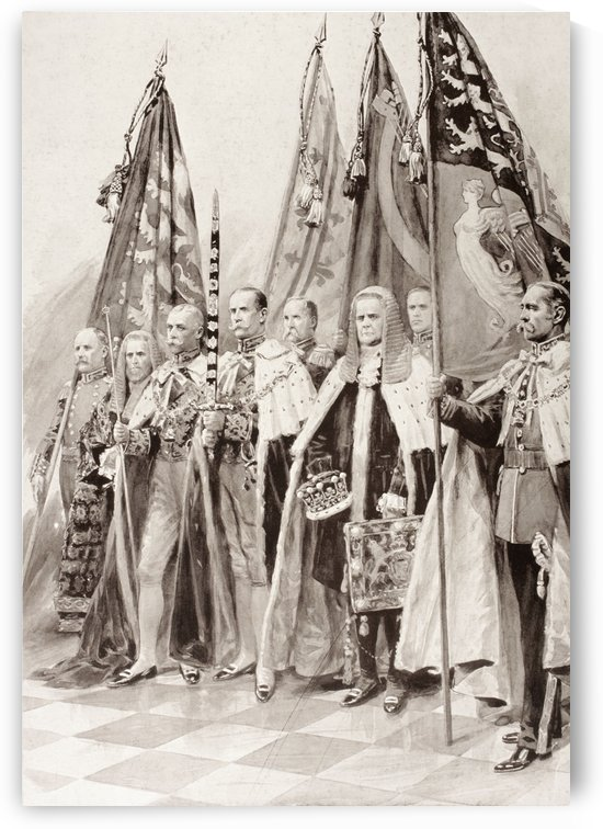 The Standard Bearers of George V during his coronation ceremony in 1910. From left to right, Mr. Frank S. Dymoke, the king's champion bearer of the Standard of England, Sir. Samuel Walker, Lord Chancellor of Ireland, Earl Carrington, The Earl of Crewe, be by PacificStock