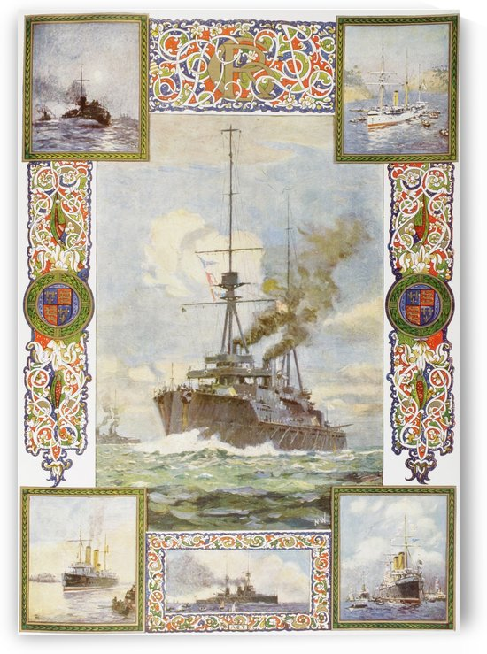 The Coronation Year Super Dreadnought Neptune and vessels King George V has commanded. From top left clockwise, Torpedo Boat No. 79, Gun Boat Thrush, The Cruiser Crescent, Battle Cruiser Indomitable and The Cruiser Melampus.  From The Illustrated London N by PacificStock