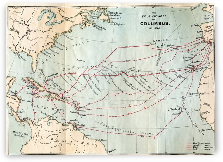 The Four Voyages of Christopher Columbus, 1492 to 1503.  From the book Life of Christopher Columbus, 1892. by PacificStock