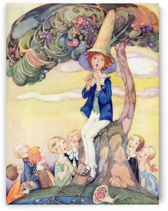 The Dream Piper frontispiece illustration from The Golden Wonder Book published 1934. The piper of dreams draws all the children to his side and his music tells them of enchanted lands where magic fills the air. by PacificStock
