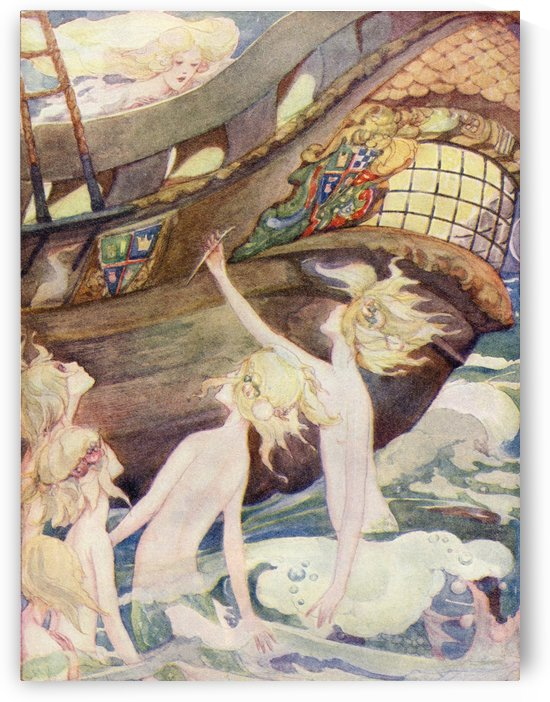 The Little Mermaid, illustration from The Golden Wonder Book published 1934.  She saw her sisters rise out of the sea, handing her a penknife with which they told her to kill the prince. by PacificStock