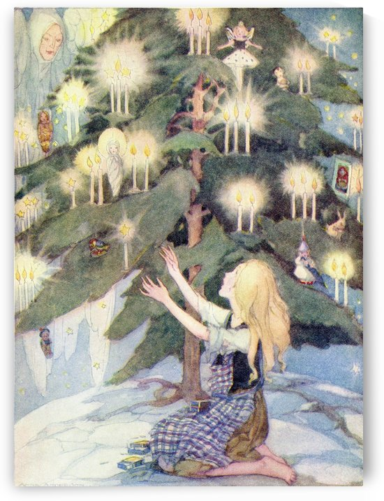 The Little Match Girl, illustration from The Golden Wonder Book published 1934.  The poor little girl was sitting under the most beautiful Christmas tree she had ever seen. by PacificStock