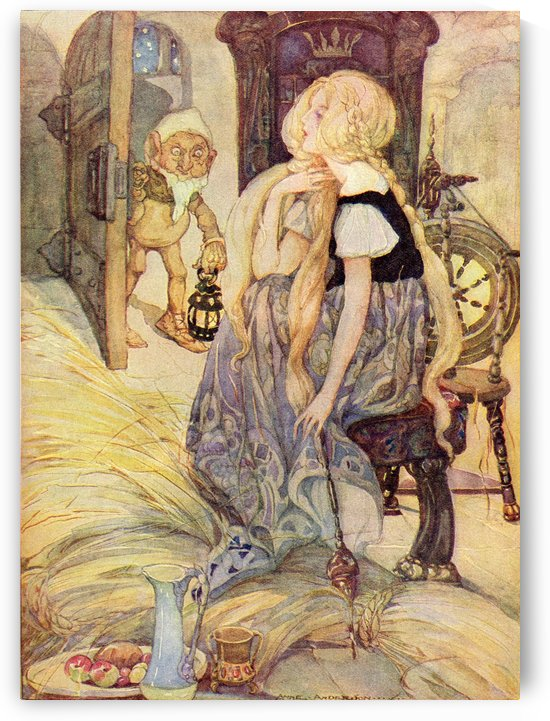The Miller's Daughter, illustration from The Golden Wonder Book published 1934.  Suddenly the door opened and into the room appeared a little man who said,