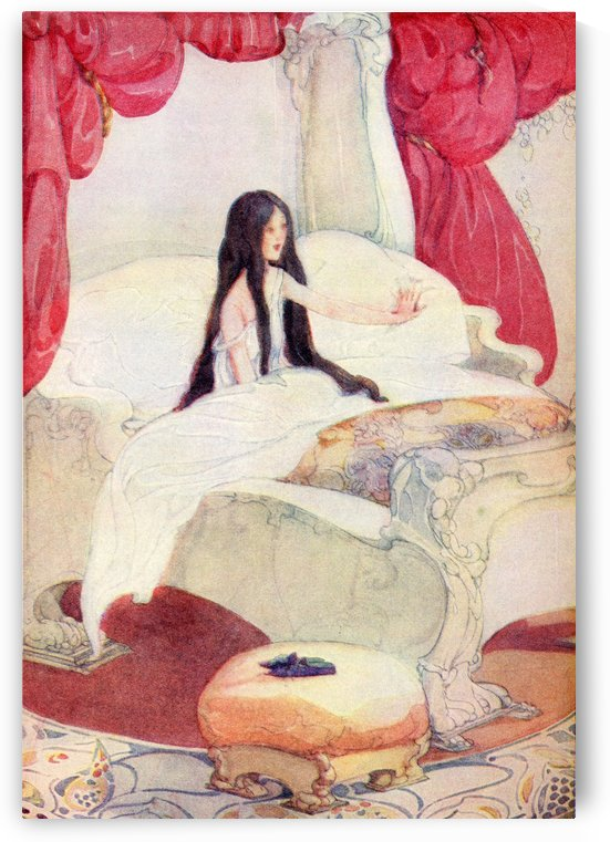The House in the Wood, illustration from The Golden Wonder Book published 1934.  The bed was of ivory, and the curtains of red velvet, and on a stool close by was placed a pair of slippers ornamented with pearls. by PacificStock