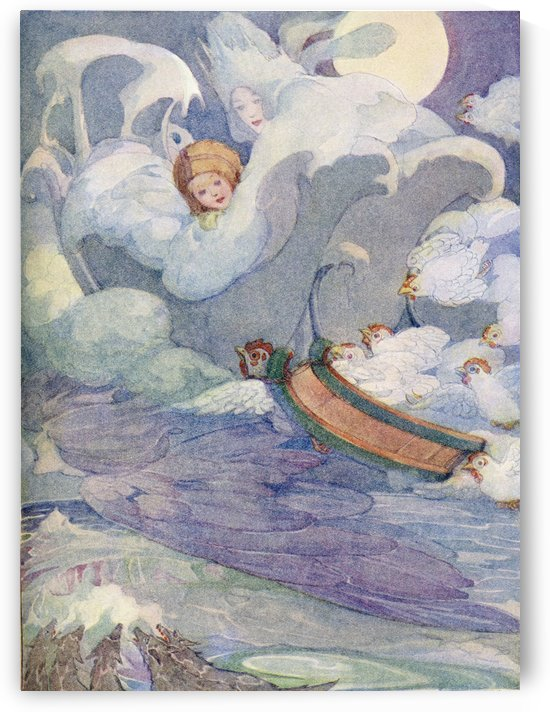 The Snow Queen, illustration from The Golden Wonder Book published 1934.  Kay's sledge was fastened to one of the white fowls which flew with it on its back. by PacificStock
